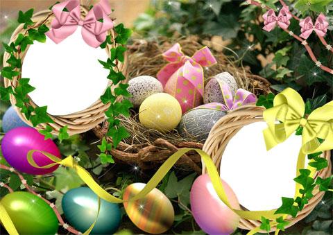 Easter eggs photo frame
