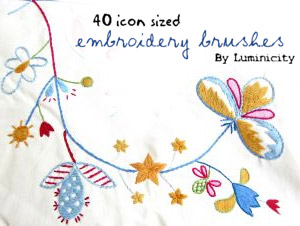 Embroidery brushes for Photoshop