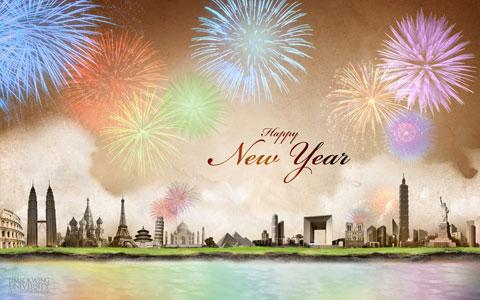 New Year's around the world wallpaper