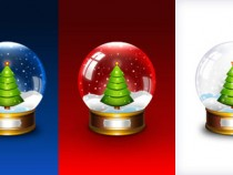 Christmas snow globe PSD template