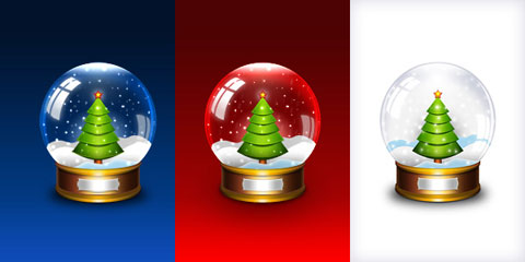 Christmas snow globe PSD template