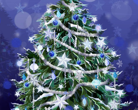 Decorated Christmas tree wallpaper