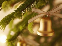 Golden Christmas bell wallpaper