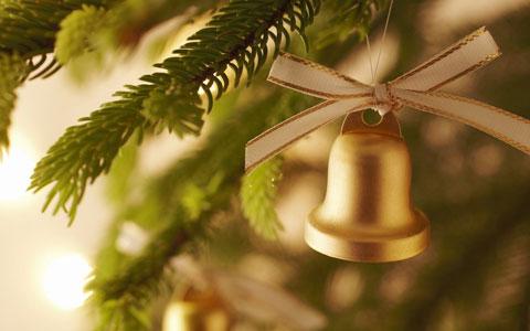 Golden Christmas bell wallpaper