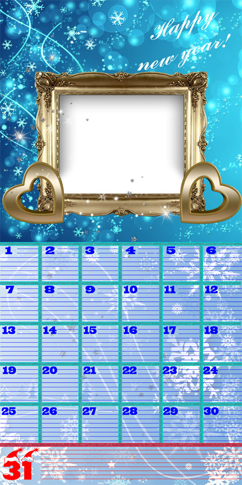 New Year diary calendar and photo frame