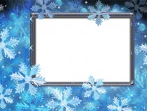 Snowy winter photo frame
