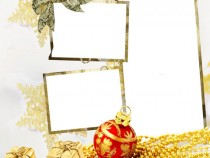 Golden glitter photo frame