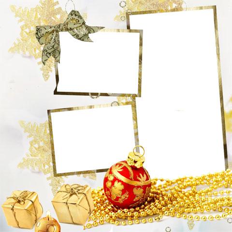 Golden glitter photo frame