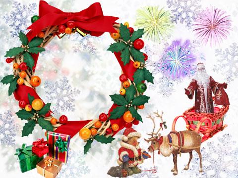 Santa giving gifts photo frame
