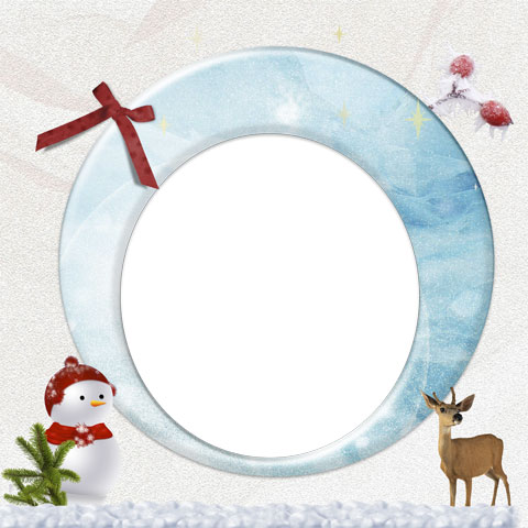 Snowman and Deer photo frame