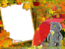 Fallen leaves photo frame