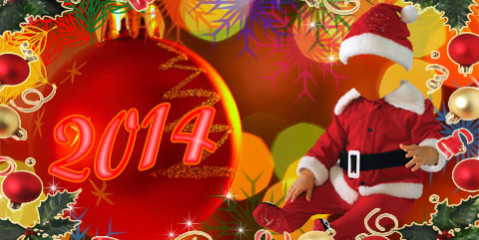 New Year 2014 Photoshop template
